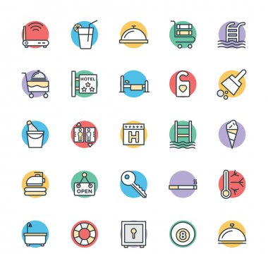 Get ready for holidays stay in hotels. Here are Hotel Vector Icons that you can use in your hotel and restaurant project. clip art vector