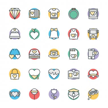 Love this entire set of love and romance vector icons pack. All icons related love, romance, valentine day, wedding, and happiness. This vector Icons pack is wonderful colored icons for your work and projects. clip art vector
