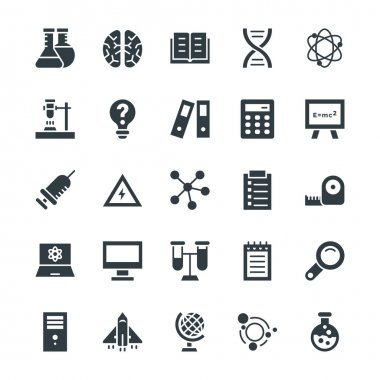 Decorate your science projects, articles, presentations, blog or web with these Science and Technology Vector Icon, this set includes science, research, scientific equipment and technology visuals. clip art vector