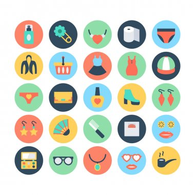 Fashion and Beauty Colored Vector Icons 7