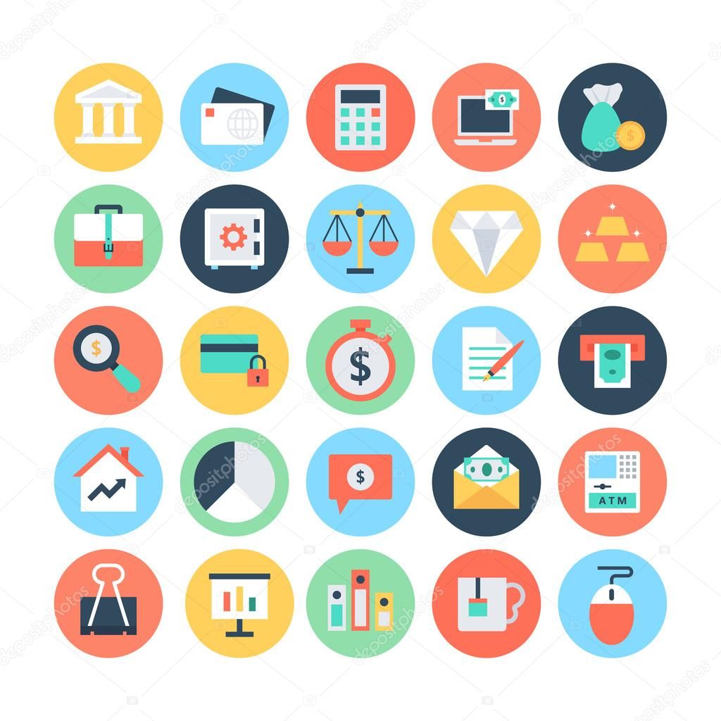 Finance Flat Vector Icons 1