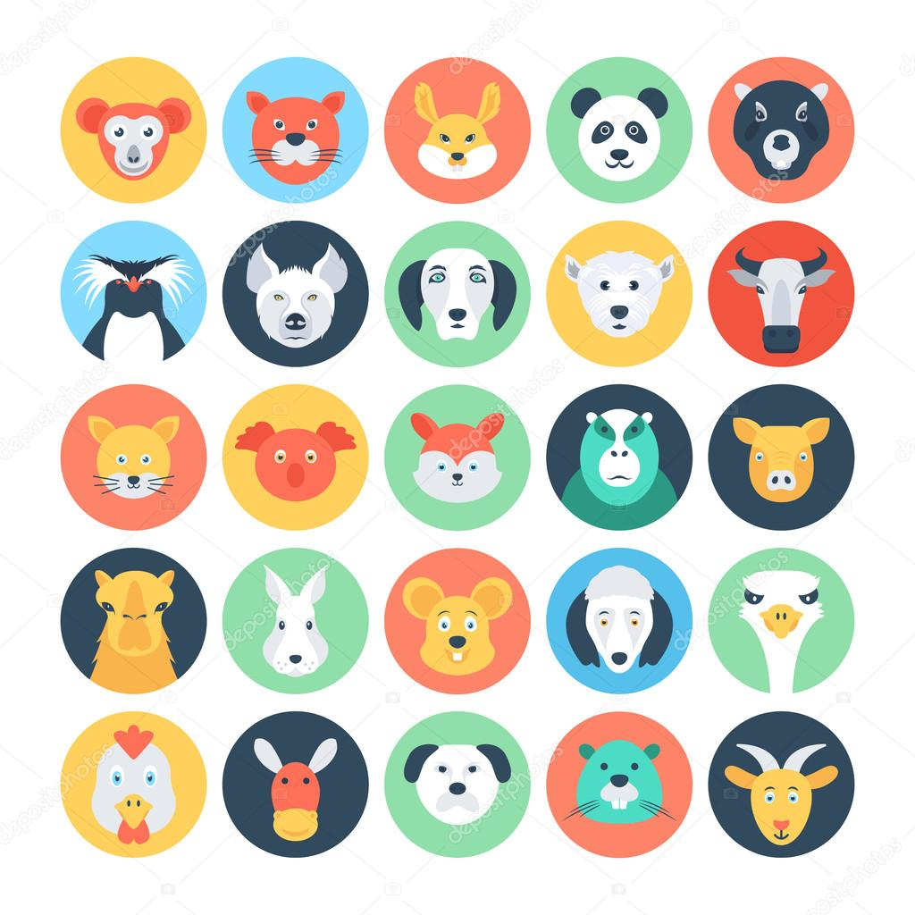 Avatar 2 Animals: Animal Avatars Flat Vector Icons 2