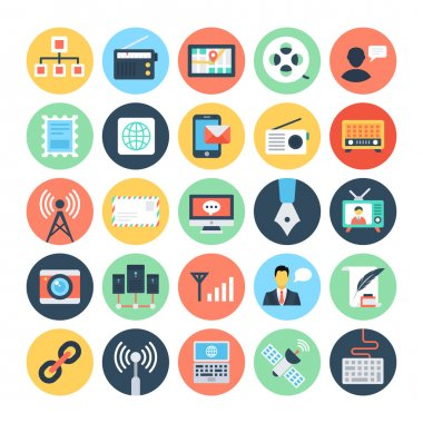 Communication Flat Vector Icons 2