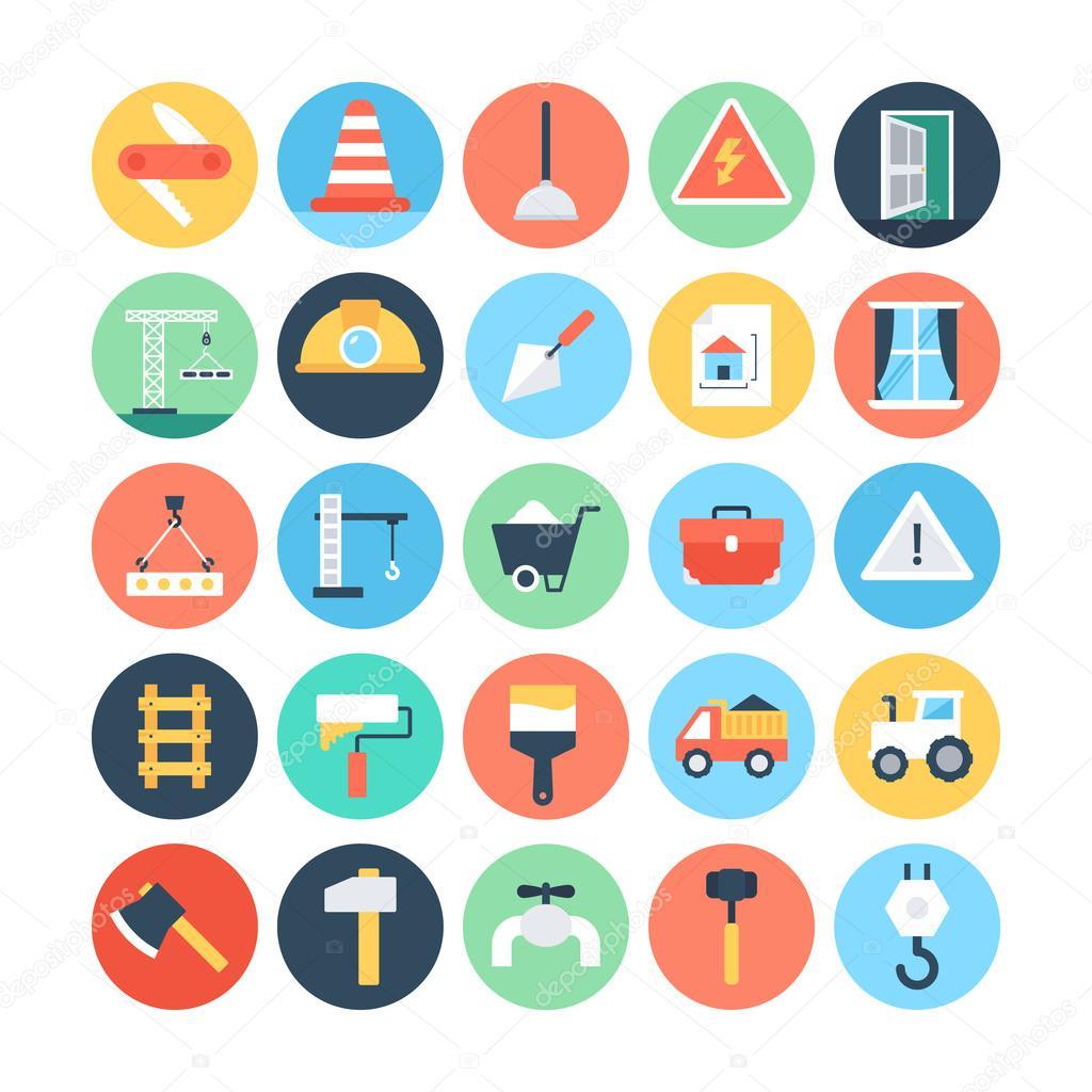 Construcción de color los iconos Vector 4 — Vector de stock ...