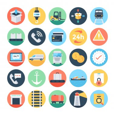 Global Logistics Colored Vector Icons 3