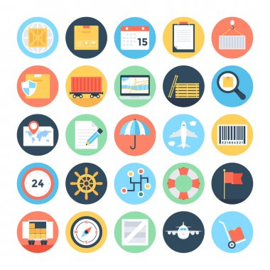 Global Logistics Colored Vector Icons 1