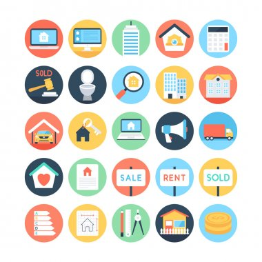 Real Estate Colored Vector Icons 3