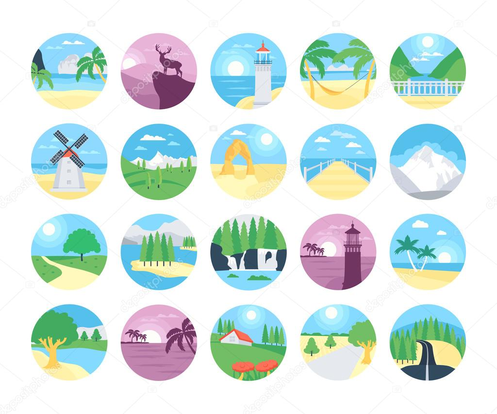 Landscapes Vector Icons 1