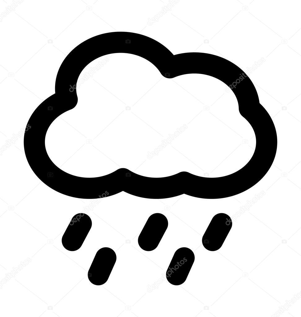Deszcz Ikona Pogrubiony Wiersz Grafika Wektorowa