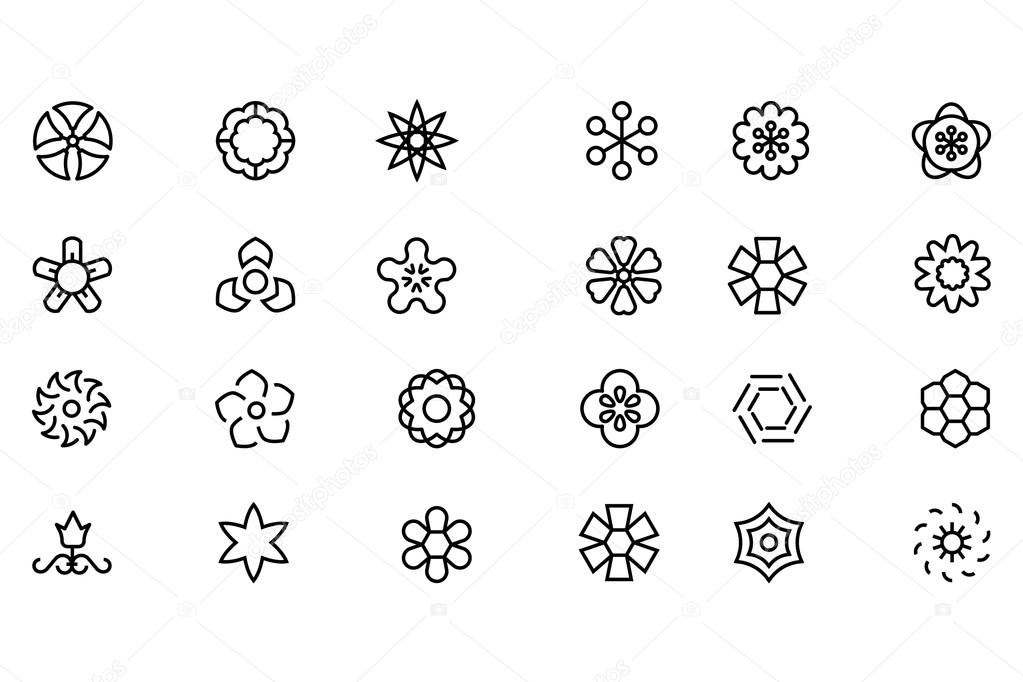 Flowers and Floral Vector Line Icons 5