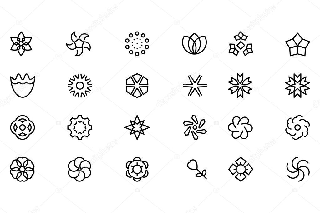 Flowers and Floral Vector Line Icons 6