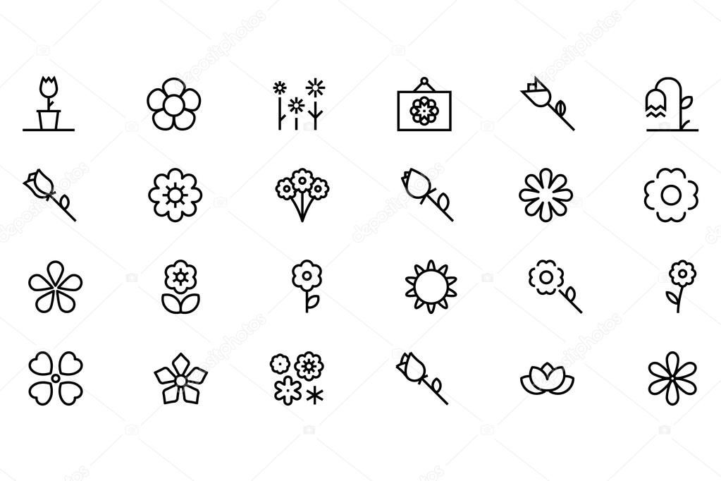 Flowers and Floral Vector Line Icons 1
