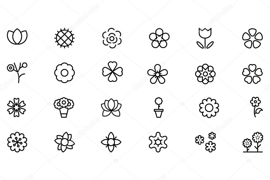 Flowers and Floral Vector Line Icons 2