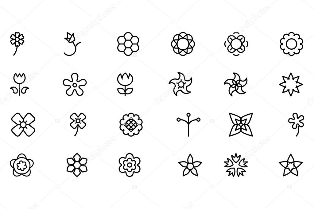Flowers and Floral Vector Line Icons 4