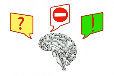 brain with icons of questions and ideas