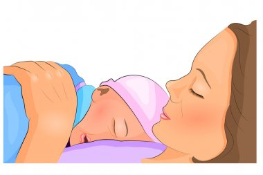 baby sleeping on mothers chest