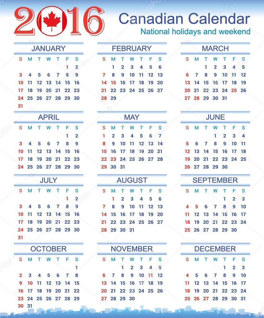 2016 Canadian Calendar