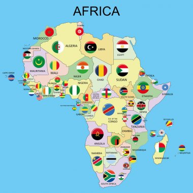 Africa - Flags on the Map