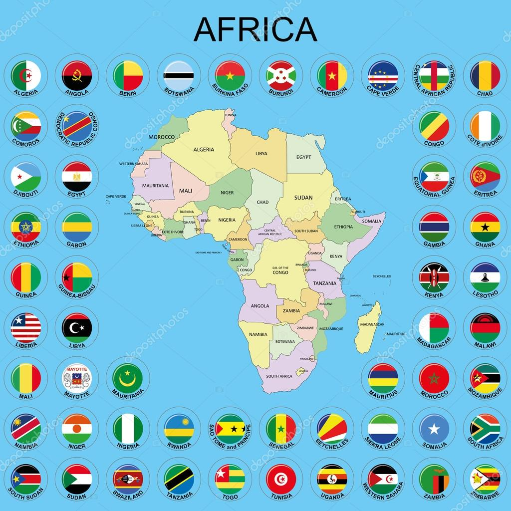 Africa - Flags around the Maps — Stock Vector © Sapphire7777