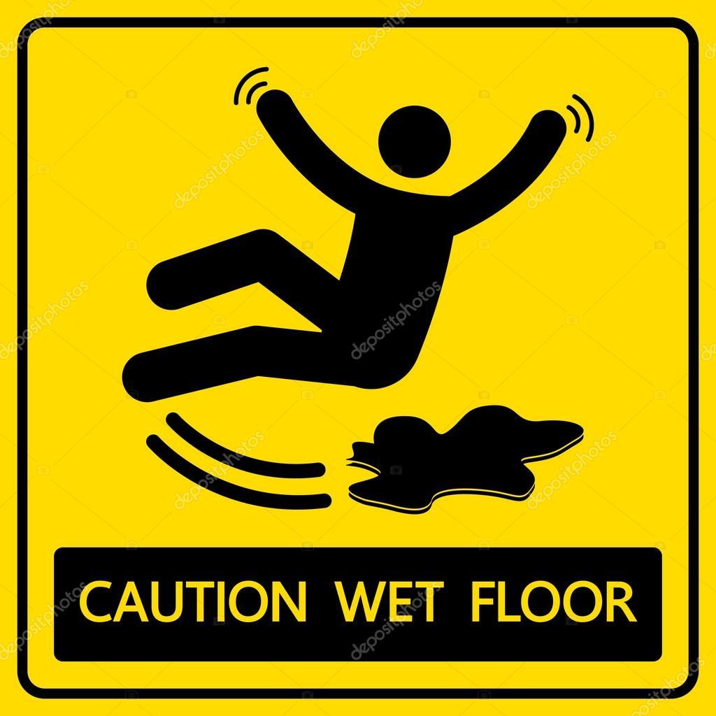 attenzione pavimento bagnato di segno e simbolo di illustrazione vettoriale vettoriali di icedesigner