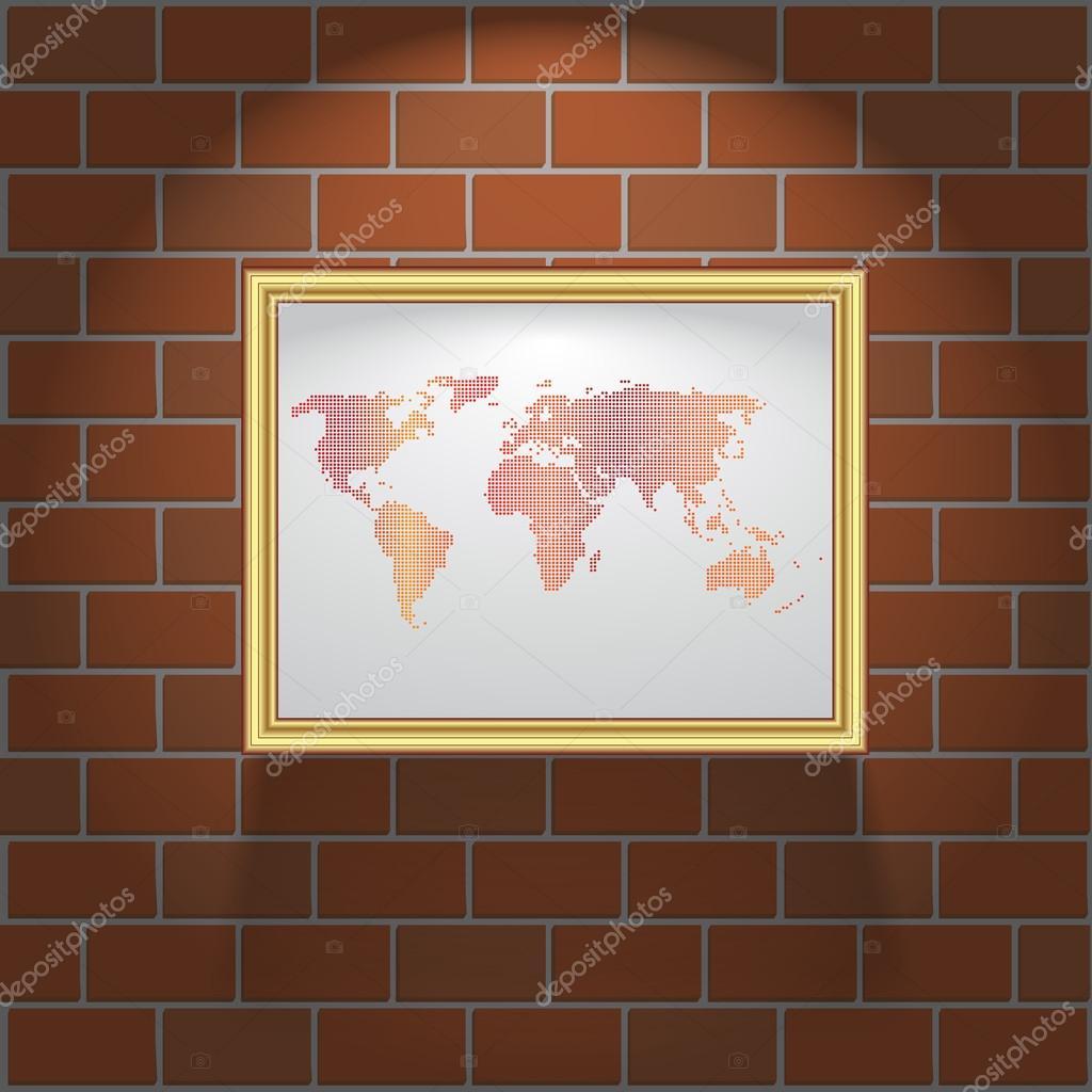 Bilderrahmen auf Ziegel Wand Textur und Hintergrund — Stockvektor ...