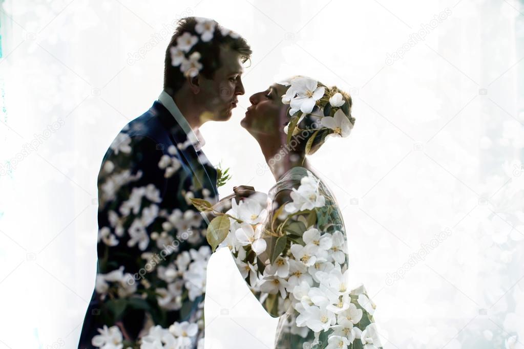 Newlyweds kissing , silet