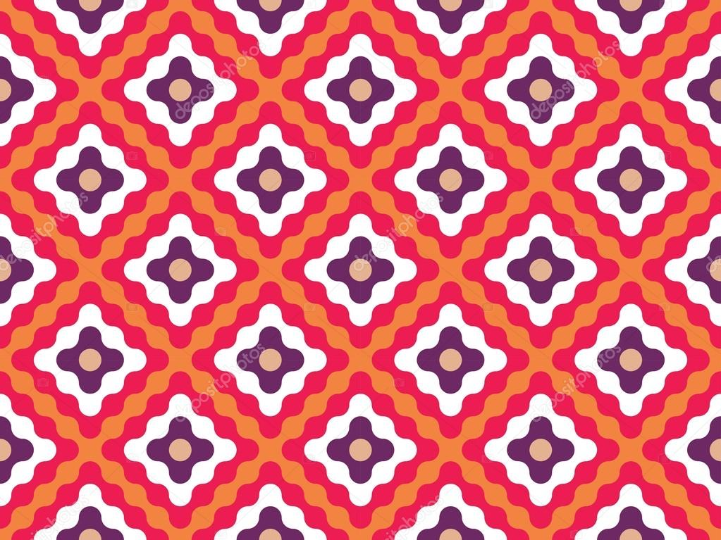 Vector Modern Seamless Colorful Geometry Pattern Flowers Color Orange Abstract Geometric Background Wallpaper Print Retro Texture Hipster Fashion Design