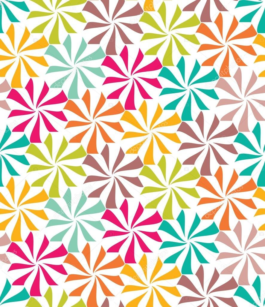 Vector Modern Seamless Colorful Geometry Pattern Flowers Color Abstract Geometric Background Trendy Multicolored Print Retro Texture Hipster Fashion