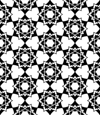 Vector modern seamless sacred geometry pattern floral, black and white abstract geometric background, trendy print, monochrome retro texture, hipster fashion design