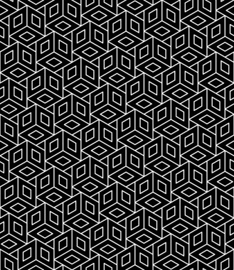 Vector modern seamless geometry pattern cubes, black and white abstract geometric background, trendy print, monochrome retro texture, hipster fashion design