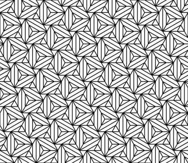 Vector modern seamless sacred geometry pattern triangles illusion, black and white abstract geometric background, trendy print, monochrome retro texture, hipster fashion design