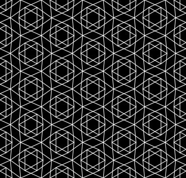 Vector modern seamless sacred geometry pattern david star, black and white abstract geometric background, pillow print, monochrome retro texture, hipster fashion design