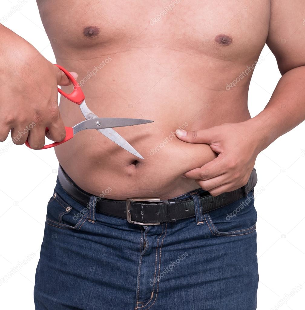 Fat Scissors Man Cut Belly Fat And Cellulite By Scissors Weight Loss Concept Stock Photo C Sorranop K 111806354