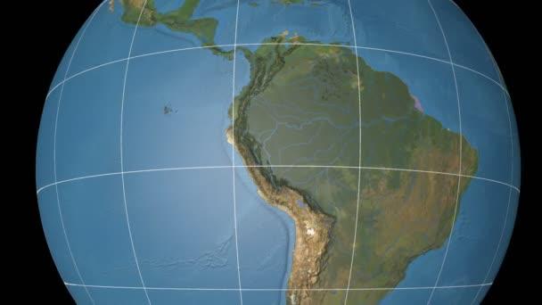 Ecuador extruded. Blue Marble. Graticule.