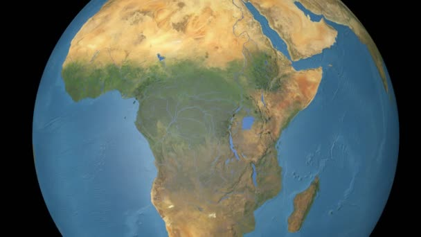 Central African Republic extruded. Blue Marble.