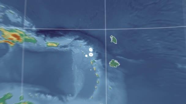 Antigua and Barbuda and Globe. Relief