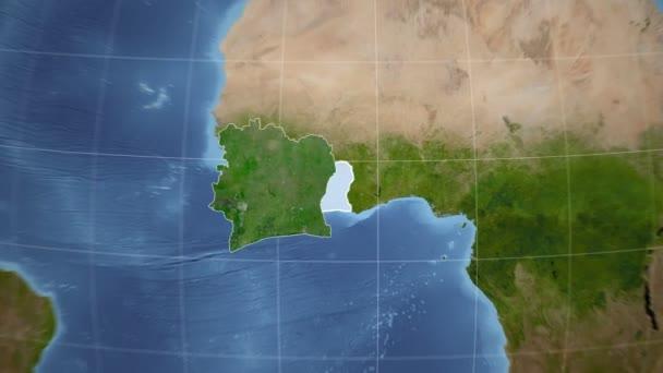 Cote dIvoire and Globe. Satellite