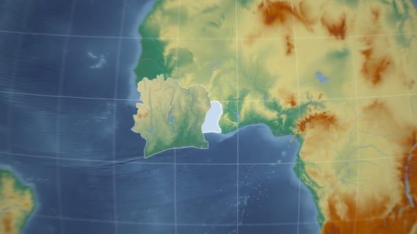 Cote dIvoire and Globe. Relief