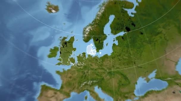 Dänemark und Globe. Satellit