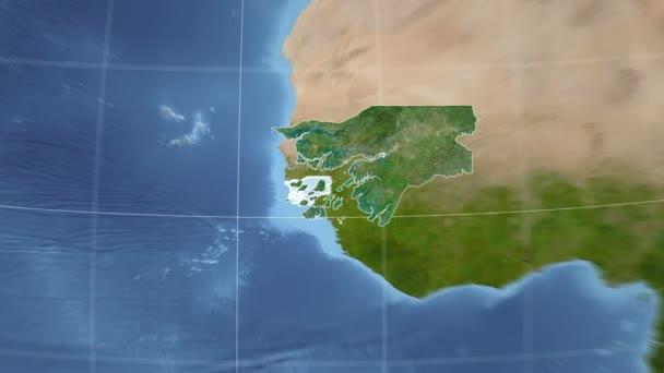 Guinea-Bissau und Globus. Satellit