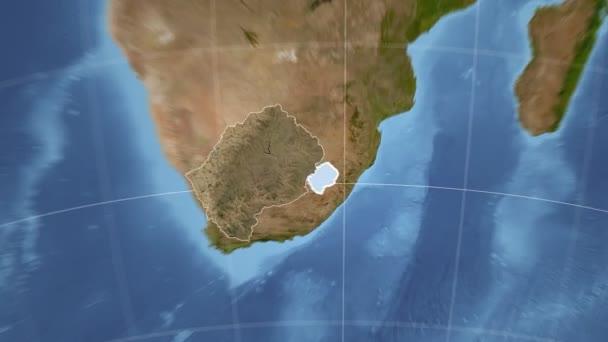 Lesotho und Globe. Satellit