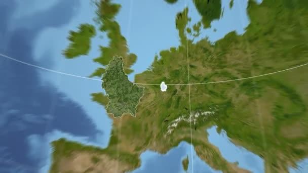 Lucembursko a Globe. Satelitní