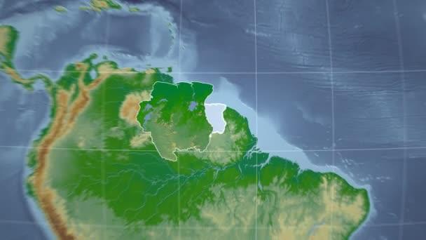 Surinamu a Globe. Hrboly stínované