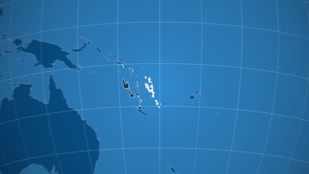 Vanuatu a Globe. Tuhé látky