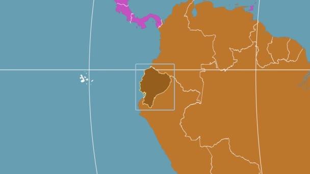 Ecuador - 3D tube zoom (Kavrayskiy VII projection). Continents