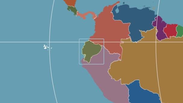Ecuador - 3D tube zoom (Mollweide projection). Administrative