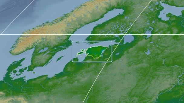Estonia - 3D tube zoom (Kavrayskiy VII projection). Bumps shaded