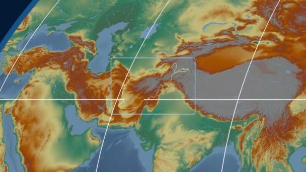 Afghanistan - 3D tube zoom (Kavrayskiy VII projection). Relief