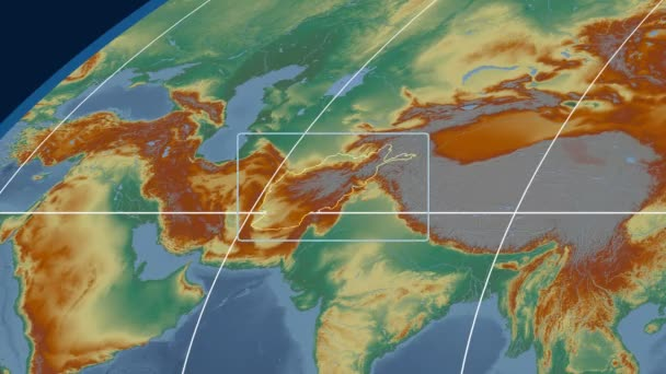 Afghanistan - 3D tube zoom (Mollweide projection). Relief