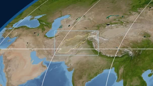 Afghanistan - 3D tube zoom (Mollweide projection). Satellite
